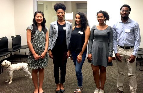 Wally poses with 2015 Hope Fund Fellows Arianna Flores Perez, Rahilou Diallo, Chenisvel Nunez, Semhal Gessesse, and Kareem Watson (from left to right)